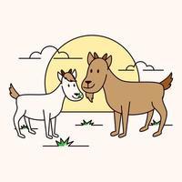cabras em um prado vetor