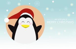 desenho de natal e ano novo com pinguim fofo vetor