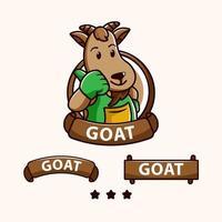 mascote de cabra com diferentes bandeiras e estrelas vetor