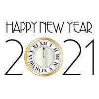 feliz ano novo 2021 design com relógio de ouro