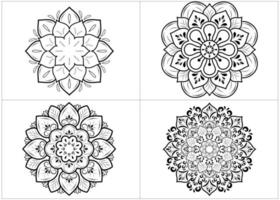 conjunto de mandalas circulares isoladas em branco vetor