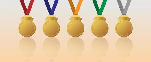 conjunto de medalhas de ouro em branco com fitas multicoloridas vetor