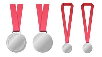 conjunto de medalhas em branco com fitas vermelhas vetor