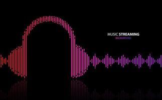 design de fones de ouvido em formato de onda para streaming de música vetor