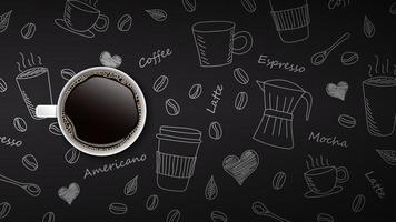 xícara de café na mão desenhada fundo de doodle vetor