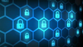 design de fechadura angular e hexágono de segurança cibernética