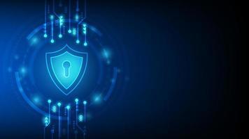 design de segurança cibernética com fechadura no escudo