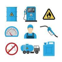 conjunto de ícones de design plano de posto de gasolina vetor