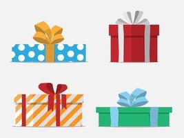 conjunto de design plano de caixas de presente