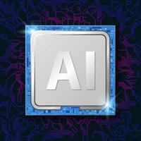 chip de CPU de inteligência artificial em padrão de circuito gradiente vetor