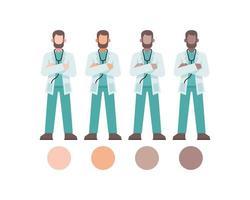 personagens médicos masculinos de braços cruzados vetor