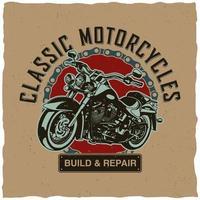 design clássico de camisetas de motocicletas vetor