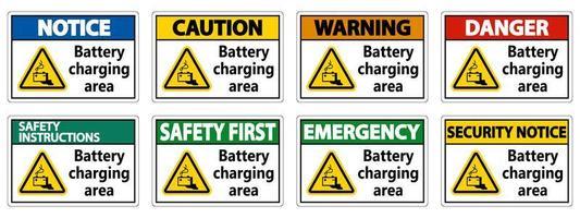 conjunto de sinalização da área de carregamento da bateria vetor
