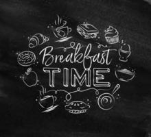 hora do café da manhã assinar em estilo de giz vetor