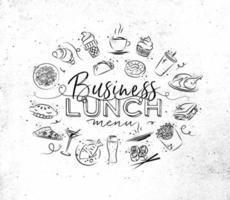 sinal de almoço de negócios desenhado à mão estilo grunge