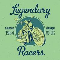 design lendário de camisetas de motocicleta de corrida vetor