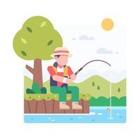 pessoa pescando no lago vetor