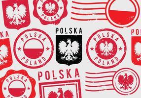 Selos postais de Grunge da Polônia vetor