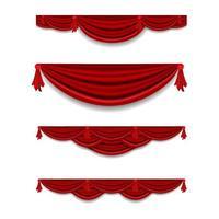 Conjunto de decoração de cornija de cortina vermelha de luxo vetor