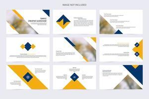 modelo de slide simples e criativo em azul e amarelo vetor
