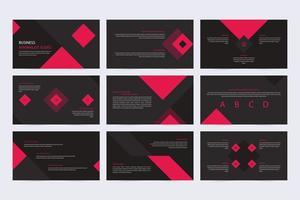 apresentação de slides promocionais minimalistas em preto e vermelho vetor