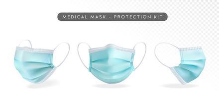 conjunto de máscara facial médica realista