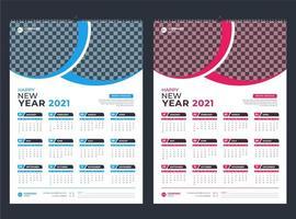 calendário de parede de uma página azul e rosa 2021 vetor