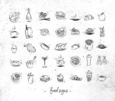 ícones vintage de comida desenhados à mão