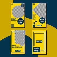 pacote de história de modelo amarelo e azul de mídia social