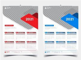 calendário de parede de duas páginas com detalhes em vermelho e azul 2021