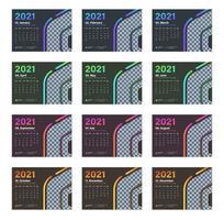 calendário de mesa moderno de várias cores 2021