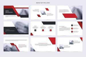 modelo de slide simples preto e vermelho de negócios vetor