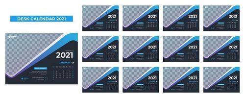 calendário de mesa azul e cinza para 2021