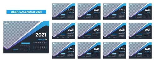 calendário de mesa azul e cinza para 2021 vetor