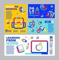 volta às aulas, folheto de aprendizagem online e conjunto de banners vetor