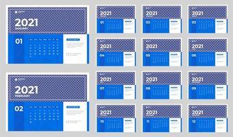 calendário de mesa corporativo azul e branco para 2021 vetor