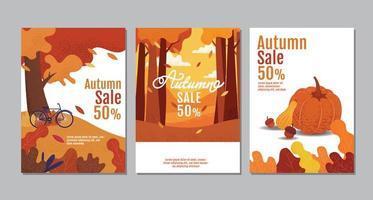 conjunto de pôster de tipografia de venda de outono