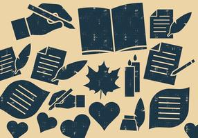 Ícones de escritores e poetas vetor
