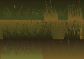 Setas horizontais de silhuetas de prado definidas vetor