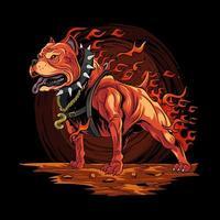 cão pitbull com design de fogo vetor