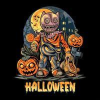 pôster assustador da noite de halloween vetor
