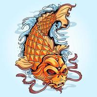 arte de tatuagem de peixe koi dourado vetor