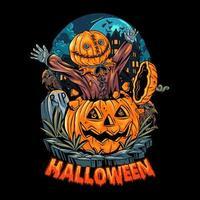desenho de pôster assustador de abóbora de halloween vetor