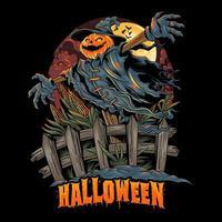 desenho de espantalho com cabeça de abóbora de halloween vetor