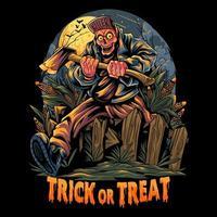 zumbi carregando machado desenho de halloween