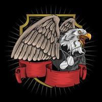 águia com colar de etiqueta militar vetor