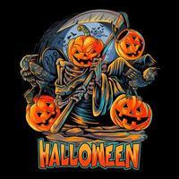 anjo da morte desenho de cabeça de abóbora de halloween vetor