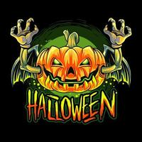 desenho de cabeça de abóbora de halloween de morcego vampiro vetor