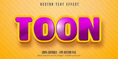 efeito de texto editável de estilo desenho animado de toon vetor