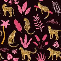 mão desenhada sem costura padrão com leopardos e palmeiras
